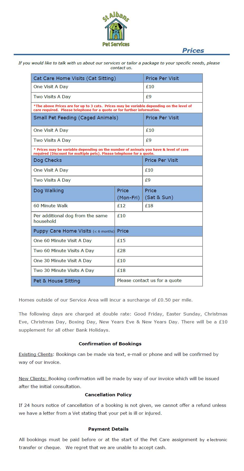 Dog Walking Price List