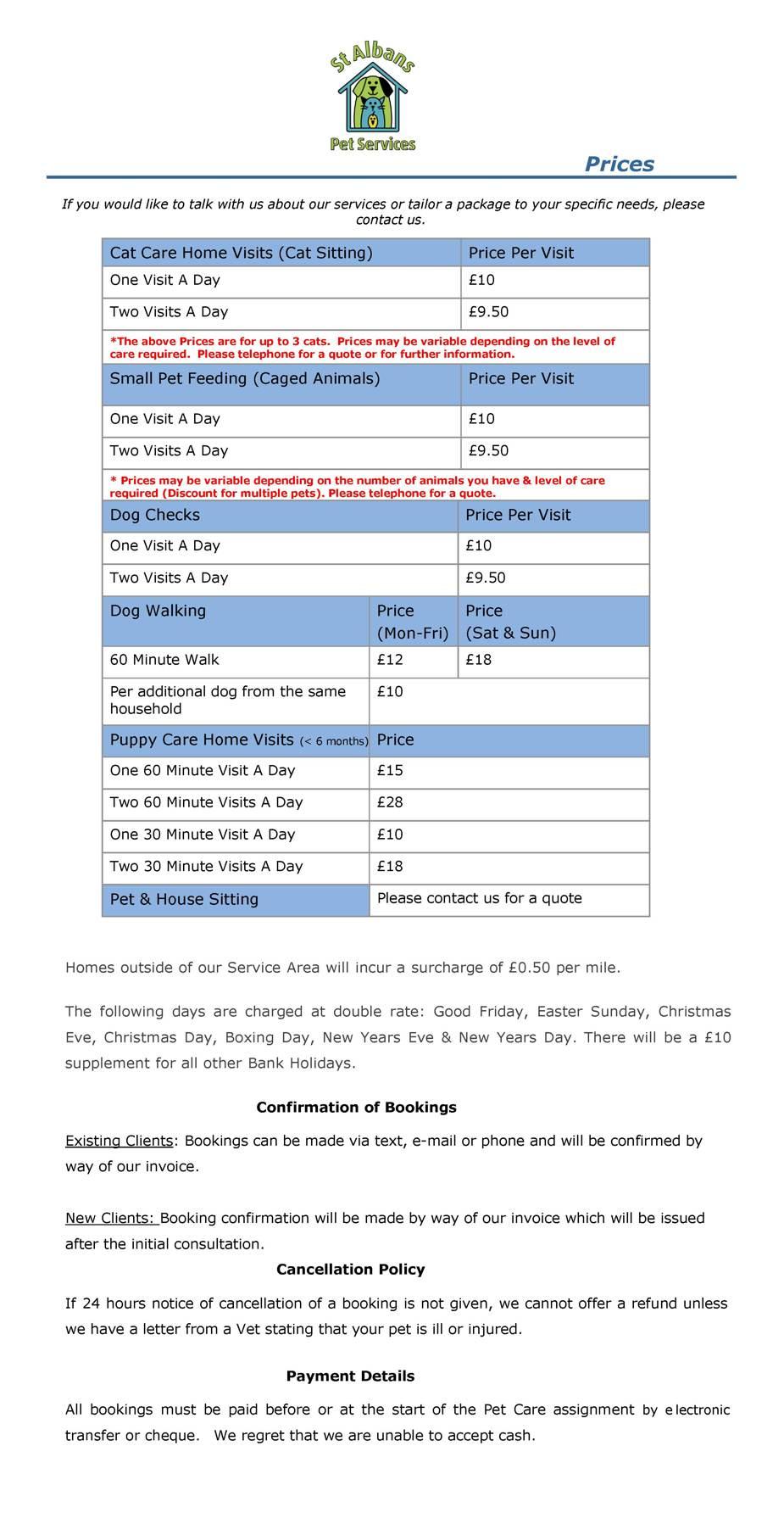 Dog Walking Prices St Albans